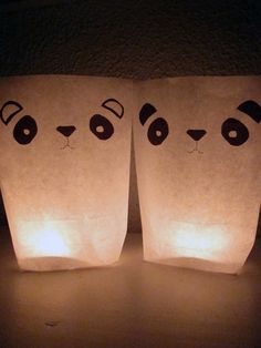 2 Luminaries  PANDA by nuukk on Etsy, $7.50