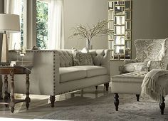Get the look and feel of the #DowntonAbbey drawing room with this #havertys Candace collection.