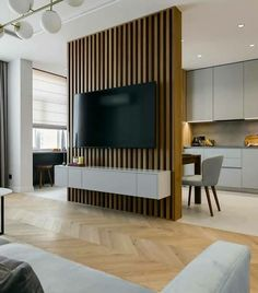 Room Partition Wall, Living Room Partition Design, Living Room Divider, Living Room Tv Unit Designs, Room Partition Designs, Living Room Interior, Hall Interior Design, Decoration, Ideas