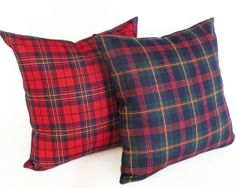 Rustic Wool Plaid Pillows, Blue Green Red Plaid Pillow, Cushion Covers, Country Christmas, Lodge, Seasonal Holiday Cabin Decor, 18x18, NEW