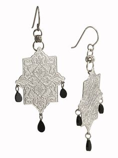 Toranj Earrings | etched sterling silver and black spinel | Drew Curtright | drewcurtrightdesigns.com