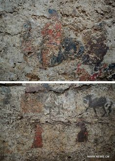 Photo taken on June 22, 2013 shows frescoes found at the archeological site of an ancient tomb in Fangshan District of Beijing, capital of C...