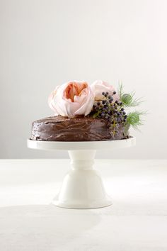 chocolate cake and roses.