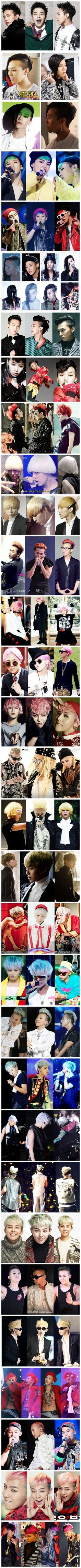 the many hairstyles of G-Dragon that are all awesome! Only GD can pull some of these styles off XD