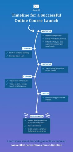 Online course launch timeline infographic