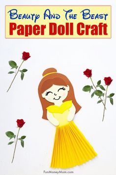 Belle Paper Doll - This adorable Disney princess paper doll is the perfect Disney craft to keep the kids entertained on a rainy day! It's a fun Beauty And The Beast craft for kids (and the grownups too! Disney Princess Crafts, Disney Princess Coloring Pages, Disney Princess Movies, Disney Princess Colors, Princess Party, Paper Doll Craft, Doll Crafts, Paper Dolls, Beauty And The Beast Crafts