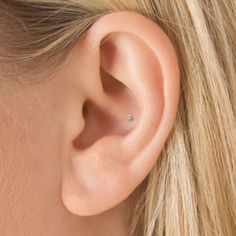 18k white gold 1.5mm invisible set diamond ball flower conch stud  $185