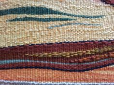 16th April - Increasing texture. Large areas woven over 2 warps with thick wool mixes, highlighted by surrounding fine yarn weave in embroidery silk  threads and cotton yarns.
