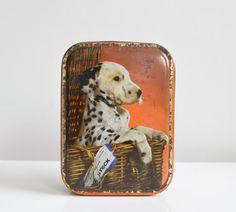 Dalmatian puppy dog vintage toffee tin box in dark by Donkeystudio, £8.00