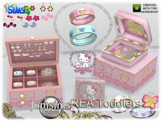 Created By jomsims Rea toddlers deco jewelry box and clutters Created for: The Sims 4 Here for your toddlers. more deco clutters , Toddlers jewelry deco and box for kids bedroom. box, closed box, more. Sims 4 Cc Kids Clothing, Sims 4 Mods Clothes, Sims 4 Tsr, Sims Cc, The Sims 4 Bebes, Sims 4 Cas Mods, Hello Kitty Bedroom, Toddler Jewelry, Sims 4 Anime