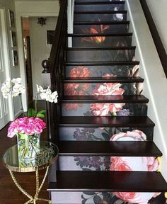 10 step stair riser decal, vintage painted floral stair sticker, floral stair decor stripe, peel and stick stair # - I print the wall stickers on innovative self-adhesive material that allows multiple sticking and pe - Cheap Home Decor, Diy Home Decor, Decoration Crafts, Stair Stickers, Stair Decor, Interior Decorating, Interior Design, Interior Colors, Decorating Stairs