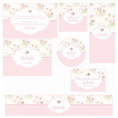 Kit digital para imprimir Floral rosa e branco    Os kits digitais da Charme Papeteria são personalizados, criados especialmente para você. Você pode escolher um tema do nosso portfólio ou um tema novo, mediante confirmação de disponibilidade. Nosso portifólio: http://www.elo7.com.br/kits-digitai...