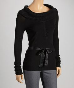 Love this Black Cowl Neck Sweater by DEPT on #zulily! #zulilyfinds