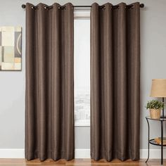 """Eurolinen blackout curtains in chocolate brown color: 1108"""" or 120"""" inch extra long available : grommets or back-tabs and rod pocket 