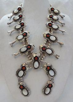 Magnificent Vintage NAVAJO Sterling Silver CORAL & MOP Squash Blossom Necklace #AUTHENTICVINTAGENATIVEAMERICANJEWELRY