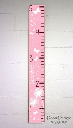 SALE Customizable Girls Dandelion and Butterflies Growth Chart on Etsy, $99.99 want something like this for Breyers room but not the price