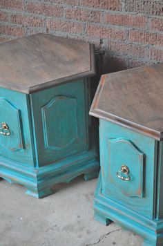 Vintage painted bedside tables side tables end by BlackSheepMill