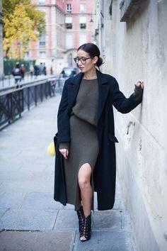 Khaki Knit / Lace Up Open Toe Ankle Boots / Long Black Coat - Alex's Closet