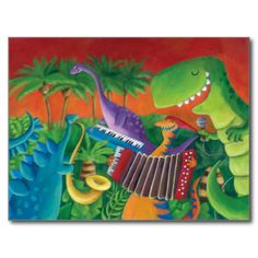 Dinosaur Rock Band. Funky Dinosaur musical band are formed. They play funk, jazz, rock and any other musical genre. They are really talented dinosaurs. T-rex vocal. Pterodactyl playing accordion, stegosaurus on sax and brontosaurus on keyboard. Perfect band with perfect Jurassic sound! This is my latest illustration, and I love dinosaurs! #artsprojekt #dino #dinosaur #t-rex #funky #dinosaur #musial #dinosaur #music #jazz #funk #musical #band #rock #dinosaur #illustration #jurrasic #disco ...