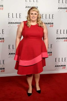 ELLE Style Awards 2015: Celebrity Red Carpet Fashion | Fashion, Trends, Beauty Tips & Celebrity Style Magazine | ELLE UK. Rebel Wilson looks super cute in her pink and red dress! Estee loved the dress, but not the colors.