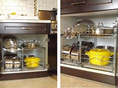 Organized kitchen cabinets are so helpful!