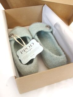 Seafoam Womens Felted Wool Slippers by ppodDesign on Etsy, $45.00
