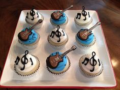 New Cupcakes Fondant Boyfriend Ideas Guitar Cupcakes, Music Cupcakes, Guitar Cake, Themed Cupcakes, Birthday Cupcakes, Music Themed Cakes, Music Themed Parties, Personalised Cupcakes, Custom Cupcakes