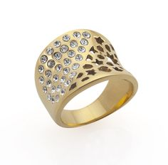 Marine grade 316 Stainless steel plated with 18k Gold and Titanium - Fishermans net Ring