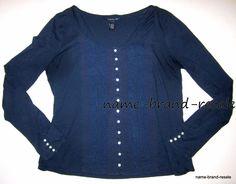 LUCKY BRAND Womens XL Navy Blue Scoop Peasant Top Shirt Hippie Boho Bohemian #LuckyBrand #KnitTop #Casual
