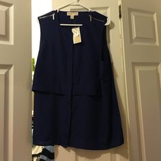 NWT, Michael Kors Sapphire Blue Button Top Brand new with tags, never worn, buttons up, has silver Michael Kors zippers on shoulders. Sleeveless, authentic, sapphire blue color, all polyester material. Very cute!! Michael Kors Tops Blouses