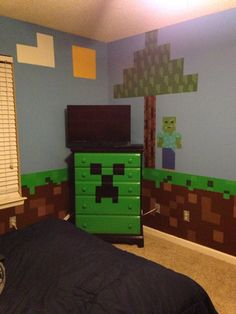 Minecraft Creeper chest of drawers with Minecraft zombie and tree for my sons Minecraft bedroom