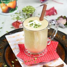Spicy Pumpkin Smoothie - pumpkin puree, 1% fat cottage cheese, 0% fat Greek yogurt, egg whites, buttermilk (sub non-dairy milk + ACV), molasses (sub another sweetener), cinnamon, clove, allspice, ginger, 4 spice, salt, pumpkin seeds, flaxseed meal, unsweetened soy milk (might sub almond/cashew)