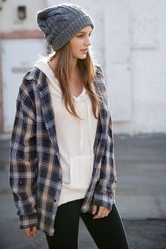 Flannel shirt over hoodie with beanie