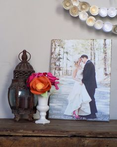 Newlywed Gift. Wedding Photo printed on Canvas with words in background ... perfection. Use your vows or first dance lyrics. Canvas created by www.Geezees.com {paper flowers by https://www.etsy.com/shop/lillesyster?ref=l2-shopheader-name )