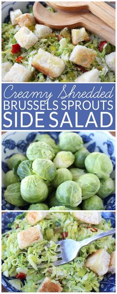 Creamy Shredded Brussels Sprouts Side Salad pairs fresh Brussels sprouts with Italian peppers and parmesan cheese. via @brendidblog
