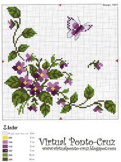 Punto De Cruz De Flores   Punto De Cruz - Mas de 5,000 Graficos: FLORES Y MARIPOSAS