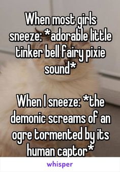 When most girls sneeze: *adorable little tinker bell fairy pixie sound*  When I sneeze: *the demonic screams of an ogre tormented by its human captor*