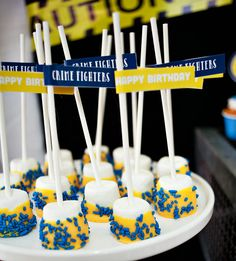 Blue & Yellow Policeman Birthday Party {Crime Fighters!}