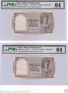 British India Kgvi 2 Consecutive 5 RS C D Deshmukh PMG 64 Notes | eBay