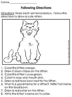 ollowing Directions: Kittens (language arts) This is the FREE. You are in the right place about La Speech Activities, Language Activities, Therapy Activities, Therapy Ideas, Speech Language Pathology, Speech And Language, Language Arts, Following Directions Activities, Receptive Language