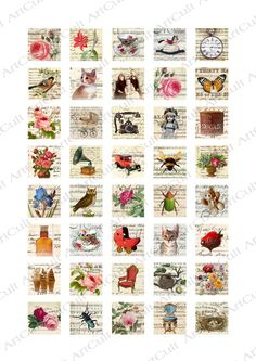 EPHEMERA MIX - Digital Collage Sheet 1x1 inch Printable jpg Images for pendants magnets scrap booking vintage paper craft. $4.50, via Etsy.