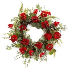 """Geranium/Ivy Wreath - 24"""""""