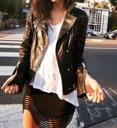 This skirt with a white tee & leather moto.