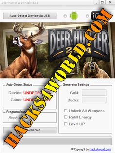 Deer Hunter 2014 Hack working with iOS and Android download only from: http://hacks4world.com/deer-hunter-2014-hack-android-ios/  Deer Hunter 2014 Hack Features: Gold generator Bucks generator Unlock All Weapons Refill Energy Level UP  Deer Hunter 2014 Hack working with iOS and Android download only from: http://hacks4world.com/deer-hunter-2014-hack-android-ios/