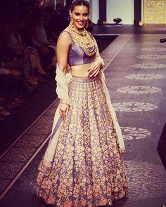 Shyamal and Bhumika Lavender Bridal lehenga choli-$2150 USD- http://www.gujaratidresses.com/shyamal-and-bhumika-lavender-bridal-lehenga-choli/
