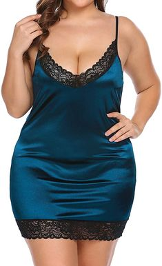 Women's Plus Size Lingerie Deep V-Neck Chemise Lace Full Slip Adjustable Spaghetti Strap Nighty Under Dress click store link for more information or to purchase the item Curvy Girl Lingerie, Curvy Women Fashion, Plus Size Lingerie, Lingerie Set, Plus Size Fashion, Bridal Lingerie, Babydoll Lingerie, Chemises Sexy, Ropa Interior Babydoll