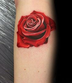 Red And White Ink Realistic Small Mens Rose Flower Tattoos