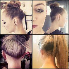 #blondehair #longhair #topknot #bun #bunhair #undercut #napeshave #undershave #shavedback #shavednape #hairtattoo #tattoo #tattoohair #hairdesign #shornnape #ponytail #sexyhair follow @liv_nanomia (tl,tr) @casbeer (bl) @helenapeters (br) ❤️❤️❤️