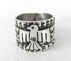 Authentic Native American Sterling Silver Thunderbird Rring by Navajo Sunshine Reeves