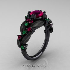 Nature Classic 14K Black Gold 1.0 Ct Rose Ruby Emerald Leaf and Vine Engagement Ring R340S-14KBGEMRR | Art Masters Jewelry